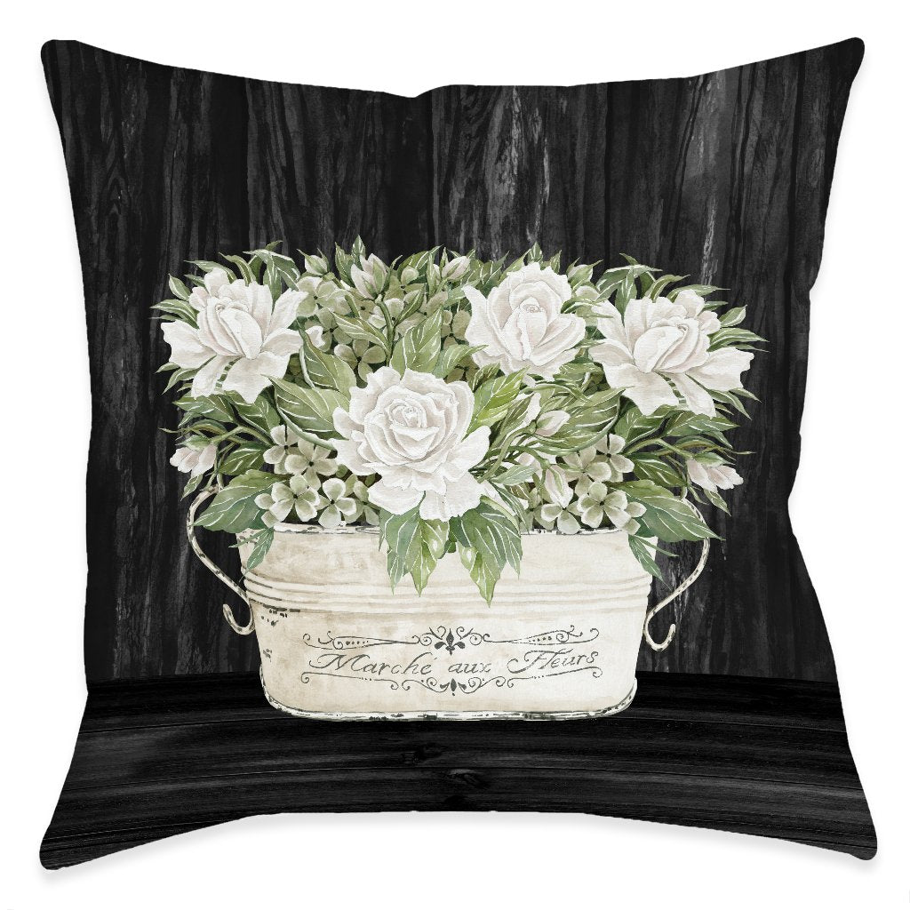 Moody Farmhouse Roses Outdoor Decorative Pillow