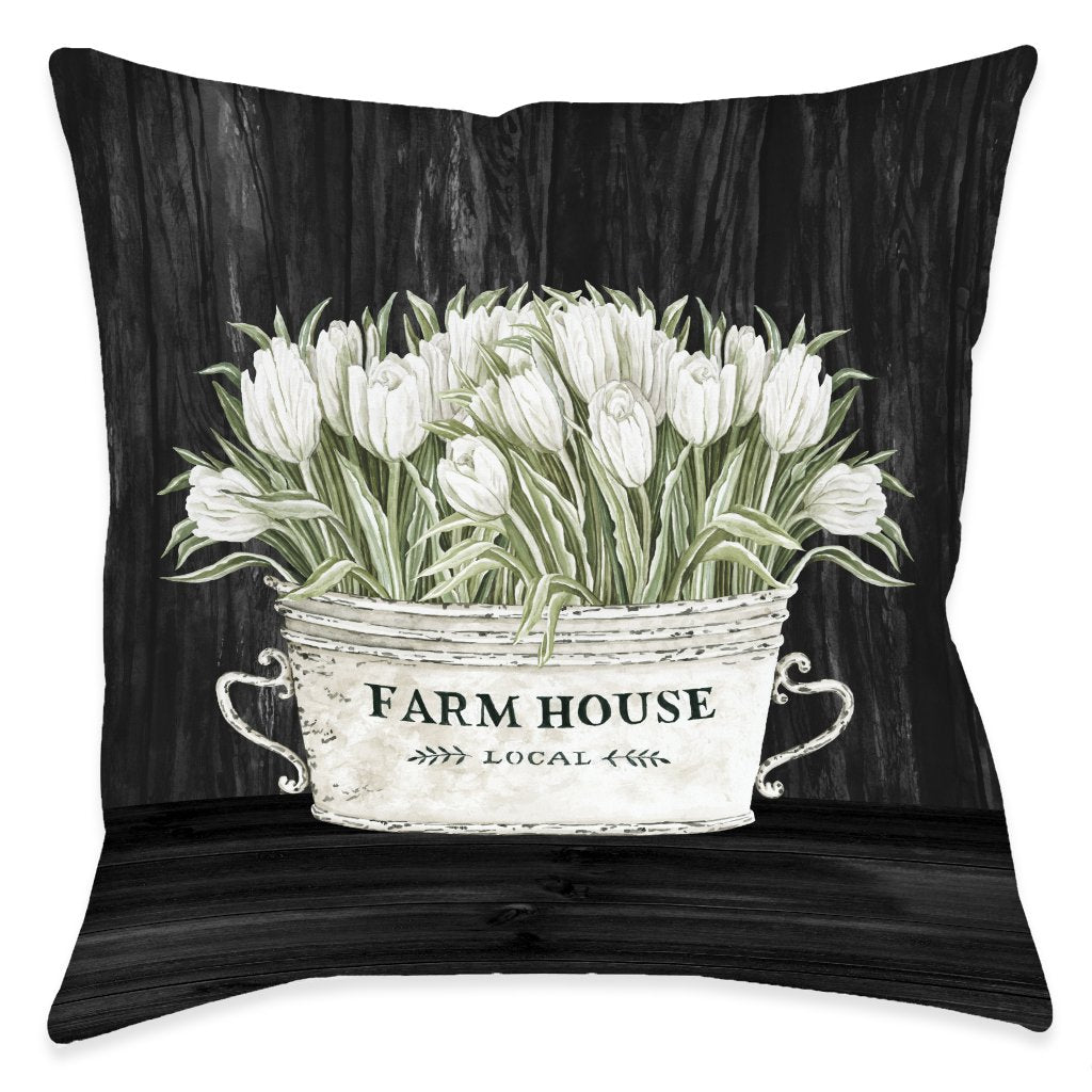 Moody Farmhouse Tulips Outdoor Decorative Pillow