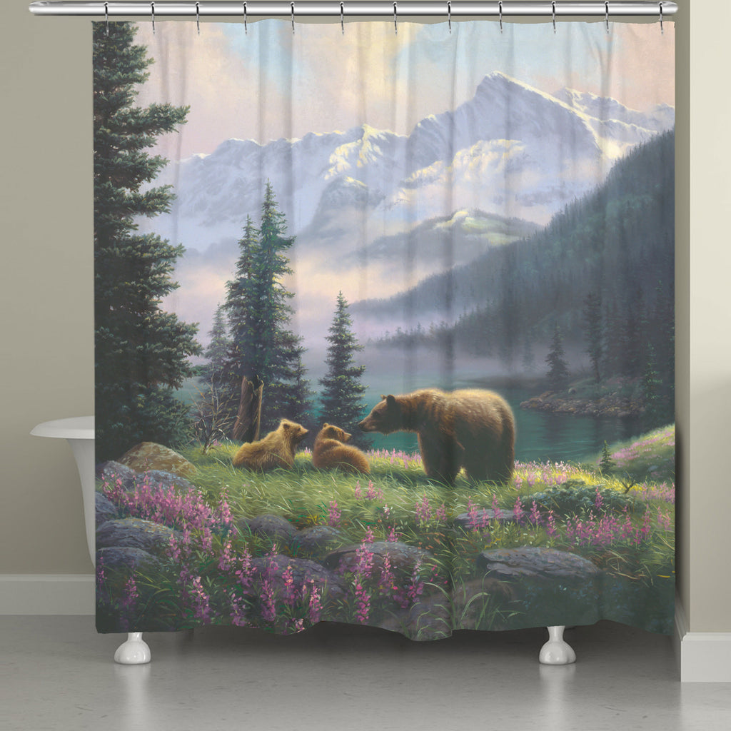 Mountain Bear with Cubs Shower Curtain