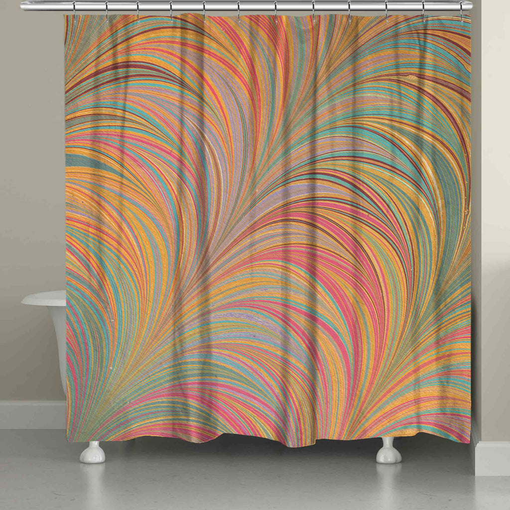 Multi Color Marble Shower Curtain