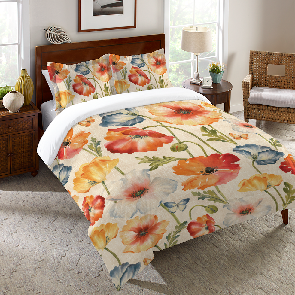 Watercolor Poppies Duvet Cover