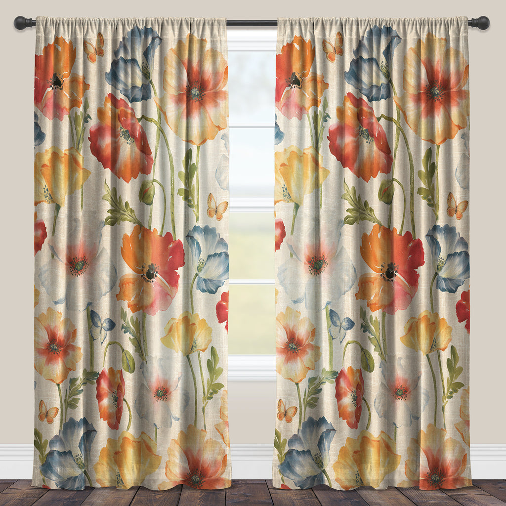 Multi Watercolor Poppies Sheer Window Panel
