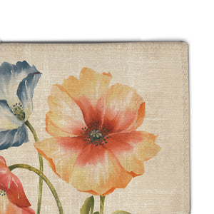 Multi Watercolor Poppies Accent Rug