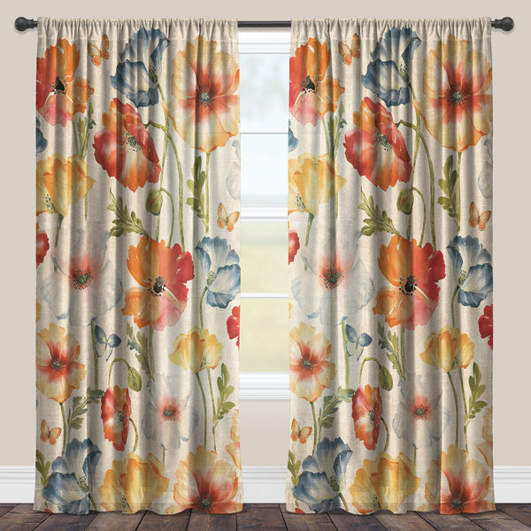 Multi Watercolor Poppies Sheer Window Panel Laural Home
