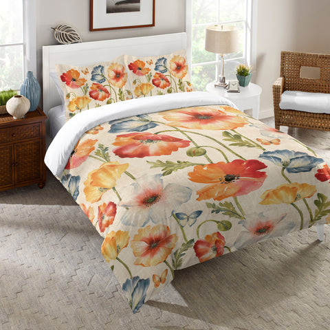 Multi Watercolor Poppies Comforter