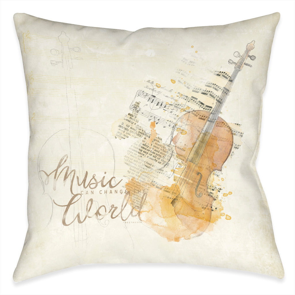 Music Can Change The World Outdoor Decorative Pillow