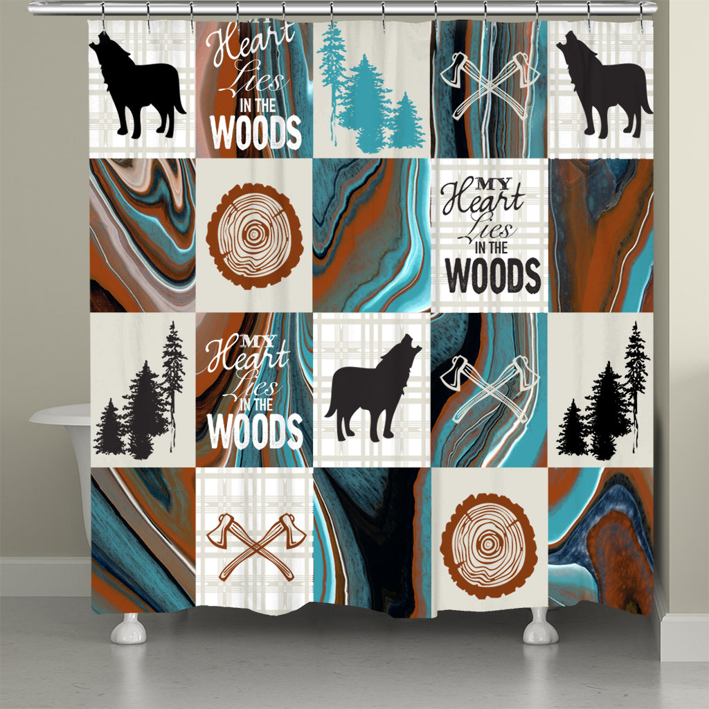 My Heart Lies in the Woods Shower Curtain