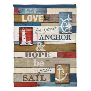 "The ""Nautical Anchor Fleece Throw"" displays inspiring coastal words and fun nautical imagery. Decorate your living space with positive sayings! This Marla Rae design is meant for the heart of your inner sailor."