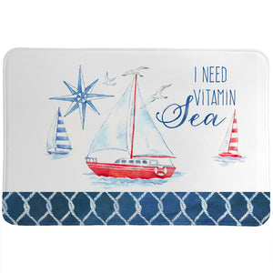 Nautical Sea Life Vitamin Sea Memory Foam Rug