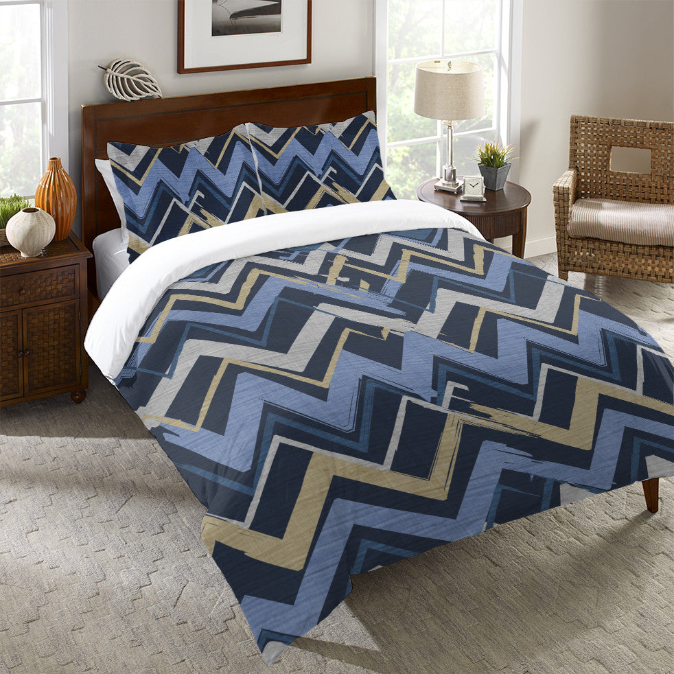 Navy Stripes I Chart Duvet Cover
