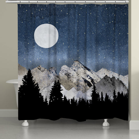 Midnight Mountains Shower Curtain