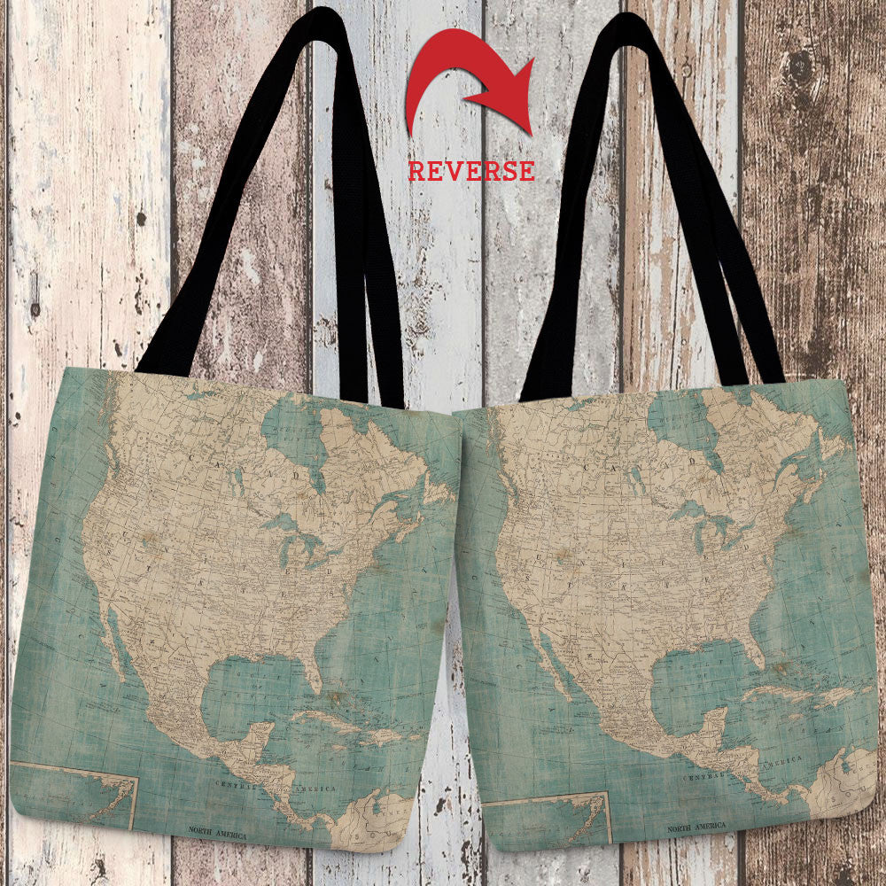 North America Map Canvas Tote Bag