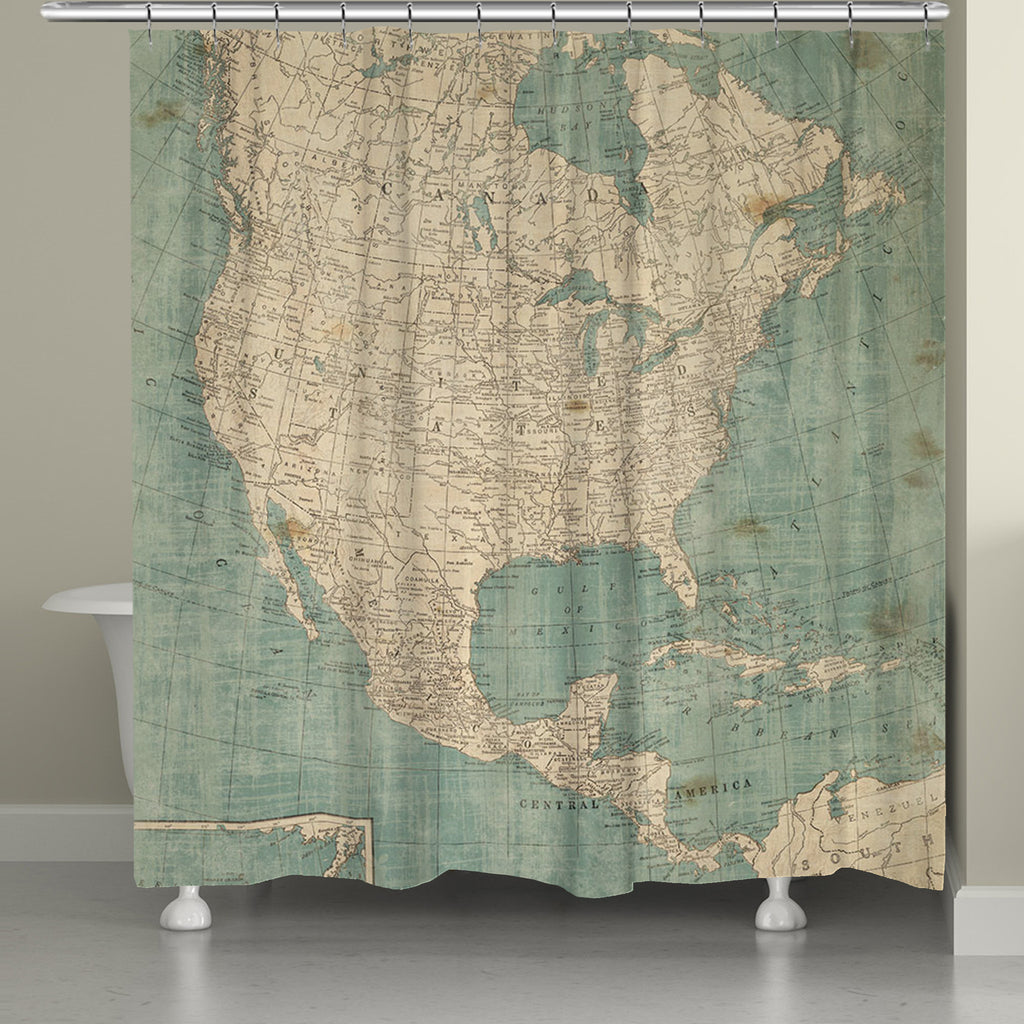 North America Map Shower Curtain Laural Home
