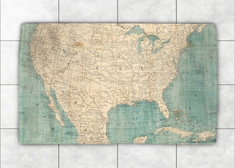 North America Map Accent Rug