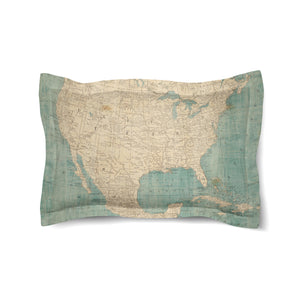 North America Map Duvet Sham
