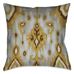 Ochre Ikat II Indoor Decorative Pillow