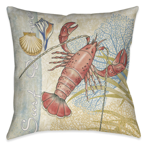 Oceana Lobster Outdoor Decorative Pillow