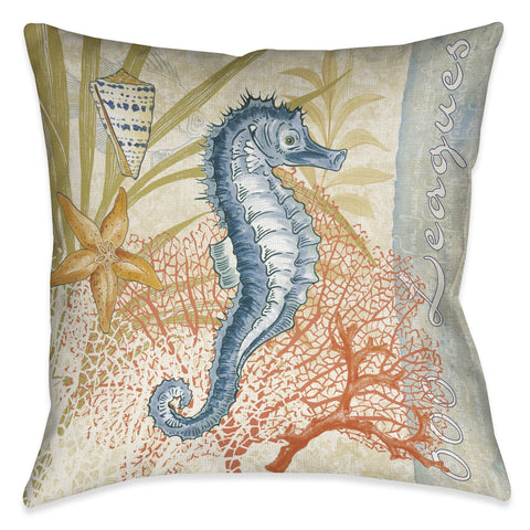 Oceana Seahorse Outdoor Decorative Pillow