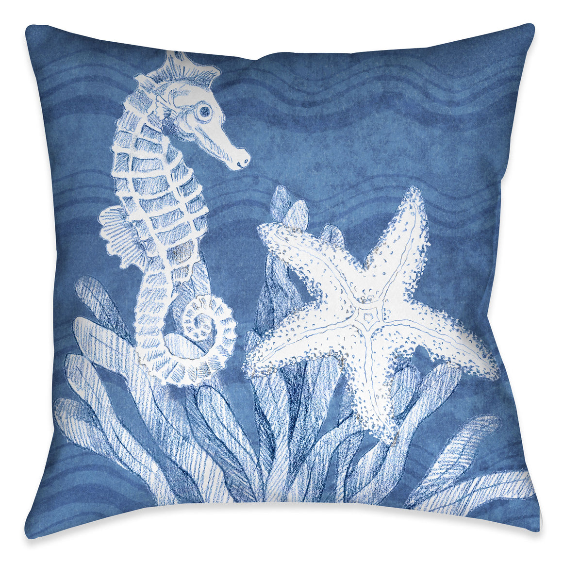 "The ""Ocean Wave Sea Life Indoor Decorative Pillow"" features a blue textured background with wave imprints complimented with a beautifully rendered seahorse, starfish and sea plant motif. The ""Ocean Wave"" series features a variety coastal sea-life with this beautiful wave texture background."