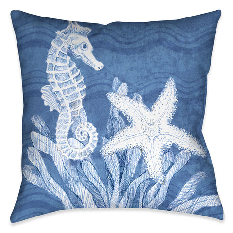 Ocean Wave Sea Life Outdoor Decorative Pillow