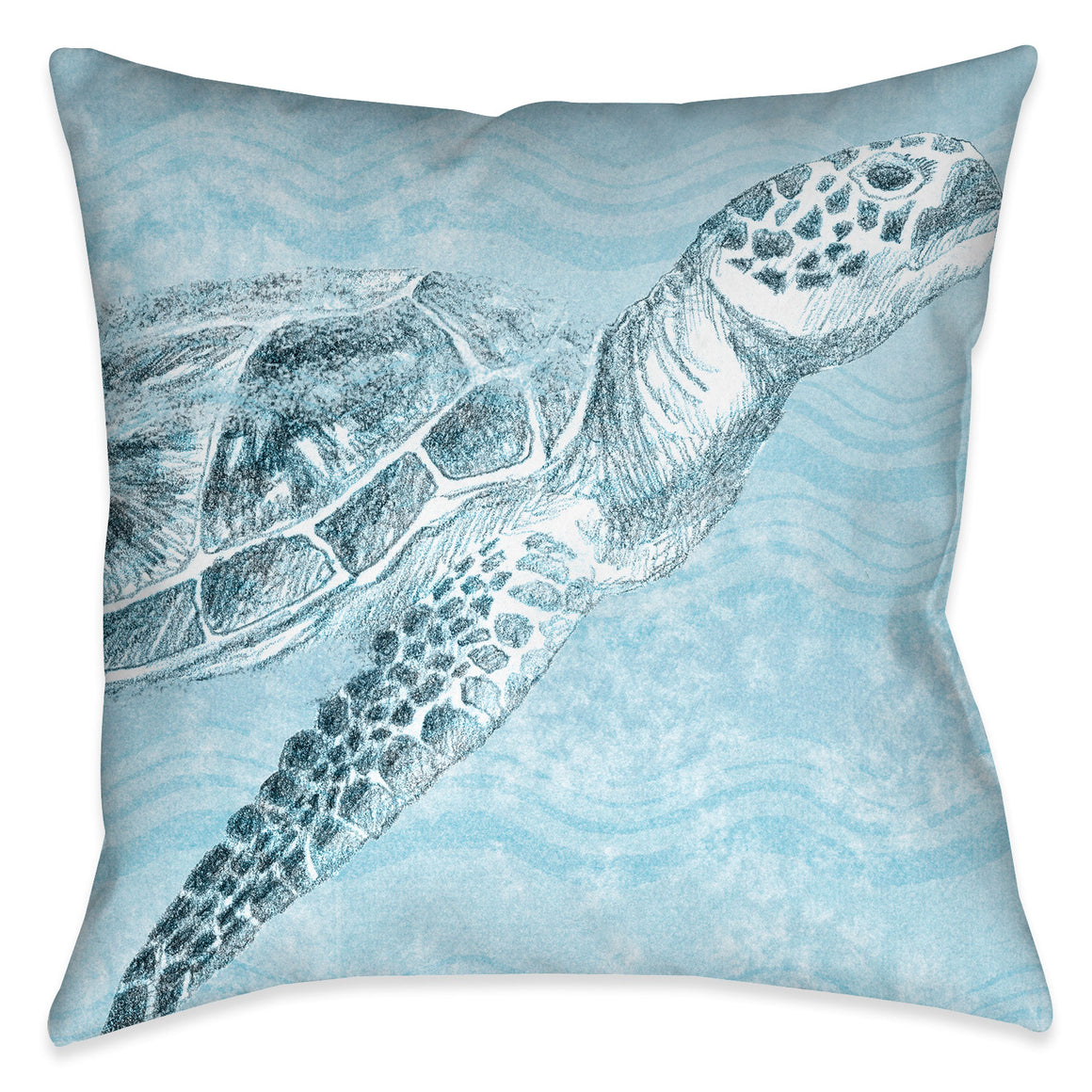 "The ""Ocean Wave Turtle Indoor Decorative Pillow"" features a soft blue textured background with wave imprints complimented with a beautifully rendered coastal turtle. The ""Ocean Wave"" series features a variety coastal sea-life with this beautiful wave texture background."