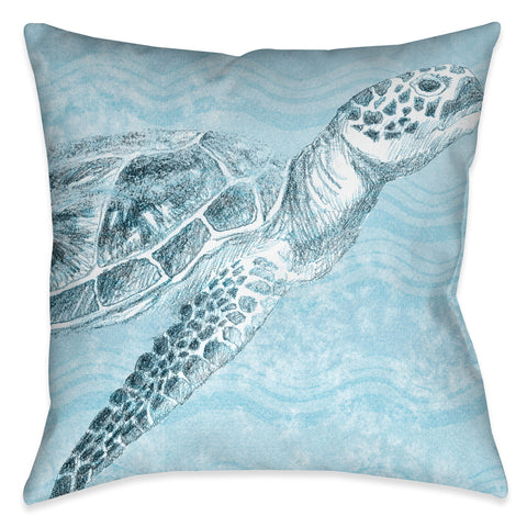 Ocean Wave Turtle Outdoor Decorative Pillow