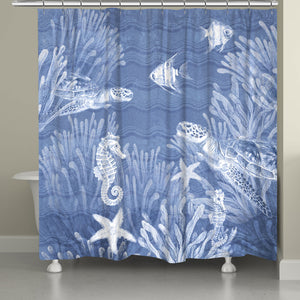 "The ""Ocean Wave Sea Life Shower Curtain"" features a blue textured background with wave imprints complimented with a beautifully rendered deep sea wild life. The ""Ocean Wave"" series features a variety coastal sea-life with this beautiful wave texture background sure to bring the liveliness of the sea to your bathroom decor."