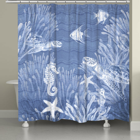 Ocean Wave Sea Life Shower Curtain