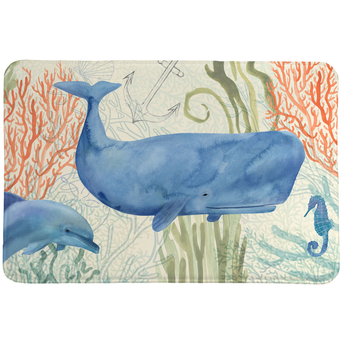 "The ""Ocean Whimsy Memory Foam Rug"" features a whale and dolphins in an serene, underwater setting. The soft watercolor hand of this coastal motif creates an energy sure to bring relaxation to your bathroom decor!"