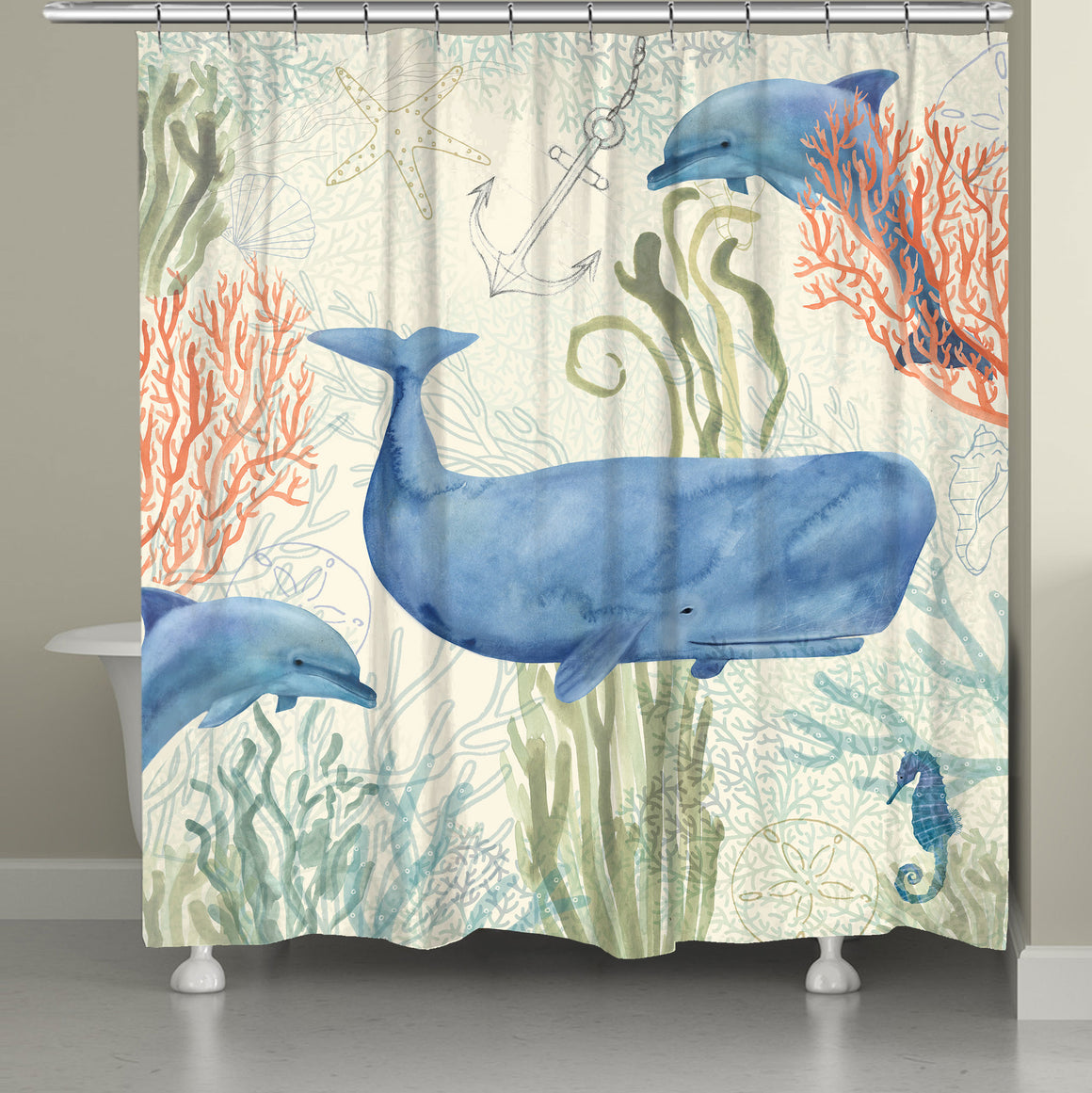"The ""Ocean Whimsy Shower Curtain"" features a beautiful display of watercolor inspired sea life. The beautiful combination of colors and textures of this underwater motif create a vibrant energy sure to bring liveliness to your bathroom decor"
