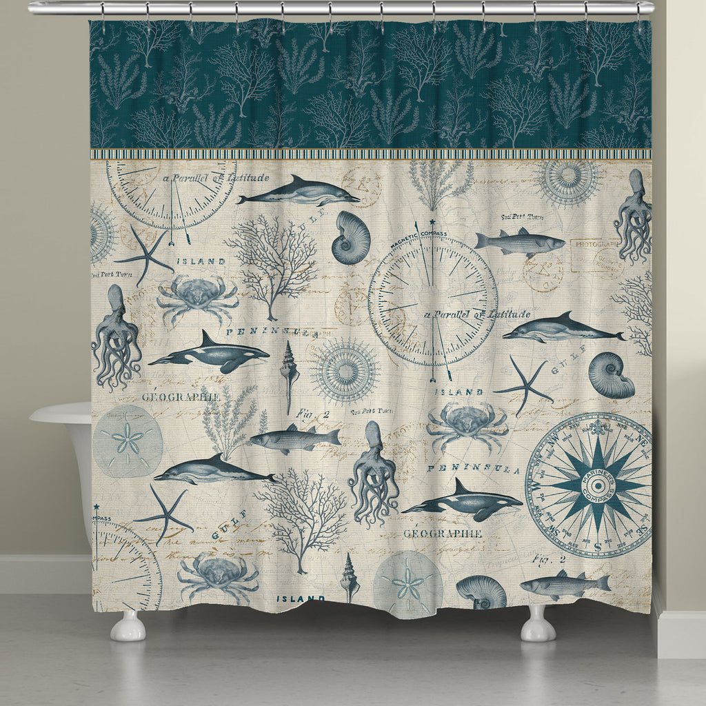 Ocean Life Shower Curtain Laural Home