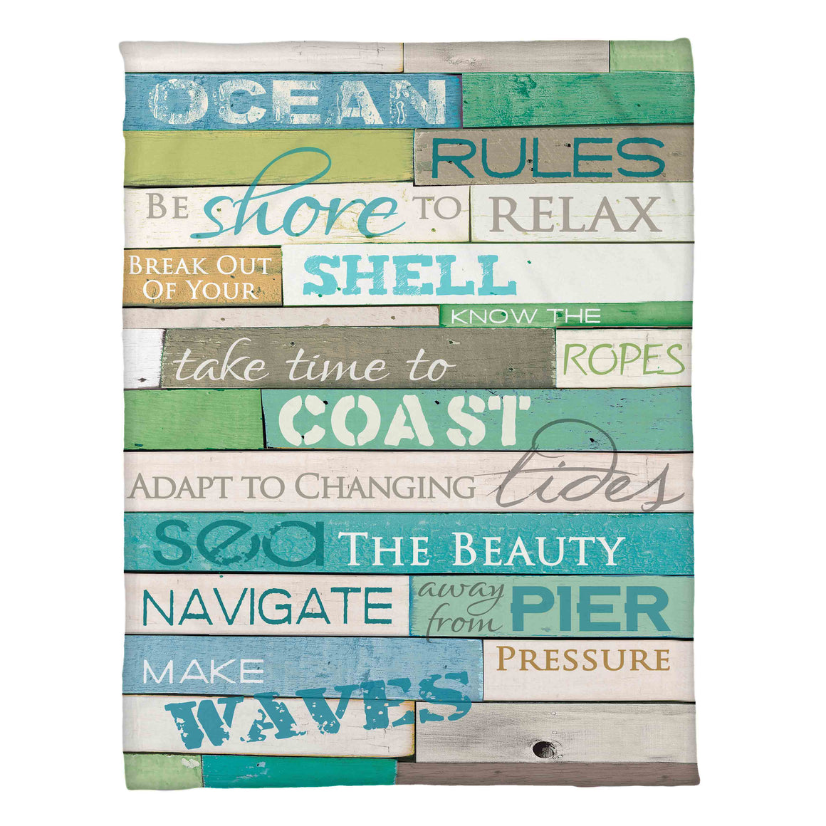 The Ocean Rules Fleece Throw displays fun coastal words to encourage you to take the relaxing vacation you deserve