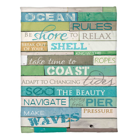 Ocean Rules Fleece Throw