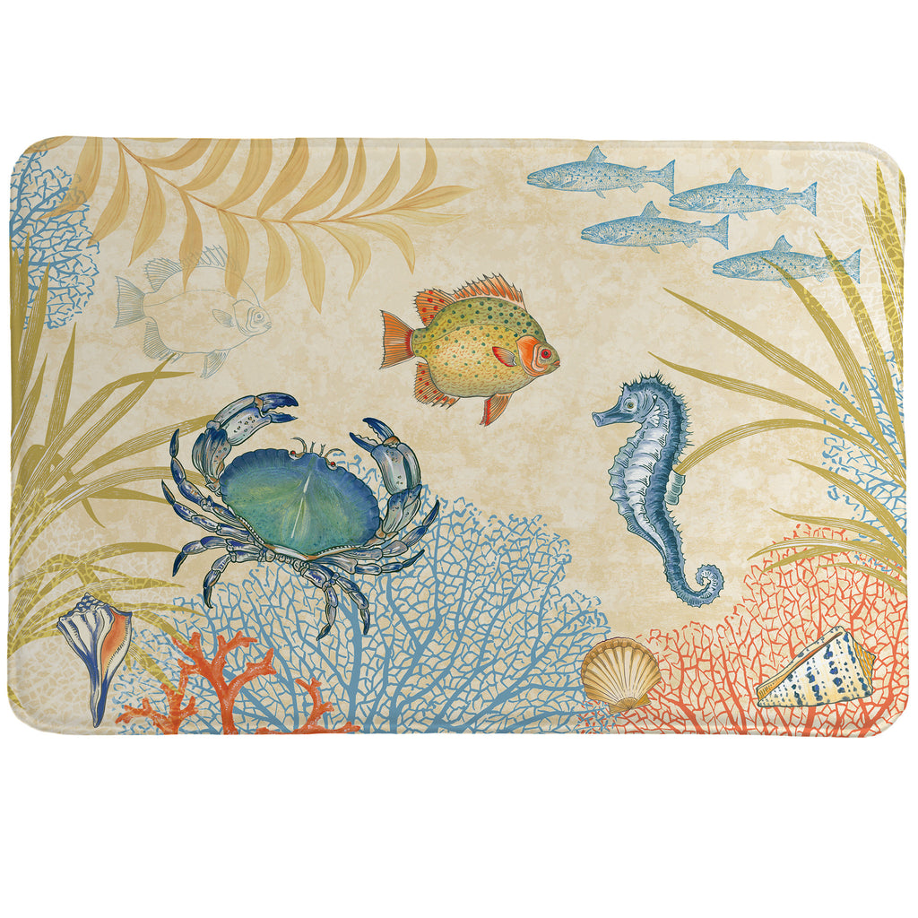 Oceana Memory Foam Rug was created using soft hues of coral and blue to set finely detailed sea crustaceans and plants.