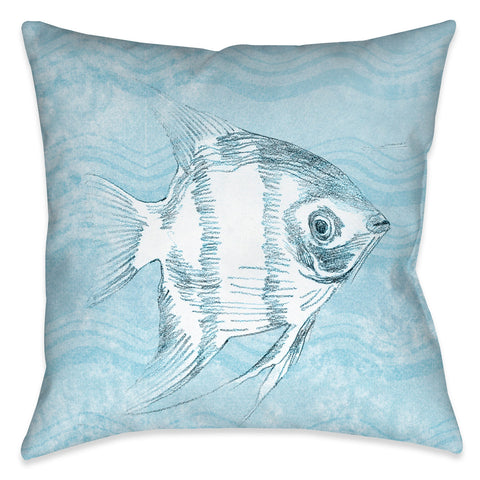 Ocean Wave Fish II Outdoor Decorative Pillow