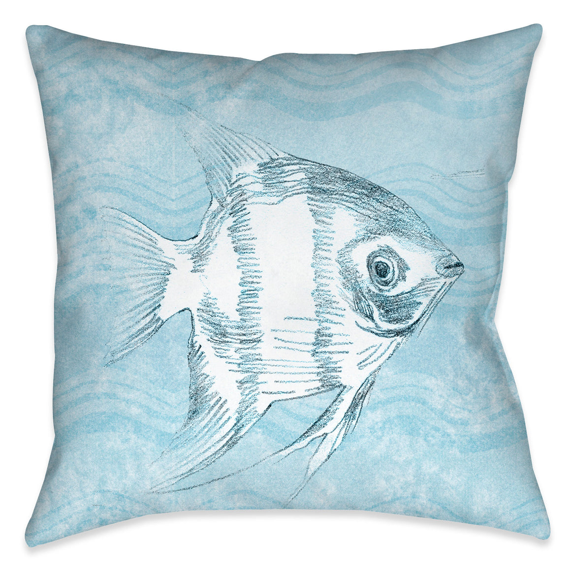 "The ""Ocean Wave Fish II Indoor Decorative Pillow"" features a soft blue textured background with wave imprints complimented with a beautifully rendered coastal fish. The ""Ocean Wave"" series features a variety coastal sea-life with this beautiful wave texture background."