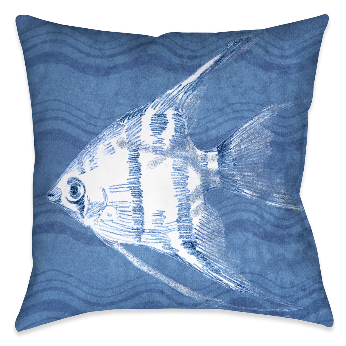 "The ""Ocean Wave Fish I Indoor Decorative Pillow"" features a blue textured background with wave imprints complimented with a beautifully rendered coastal fish. The ""Ocean Wave"" series features a variety coastal sea-life with this beautiful wave texture background."