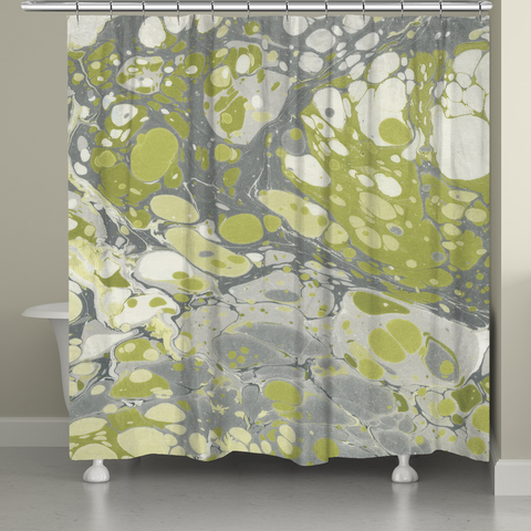 Olive Marble Shower Curtain