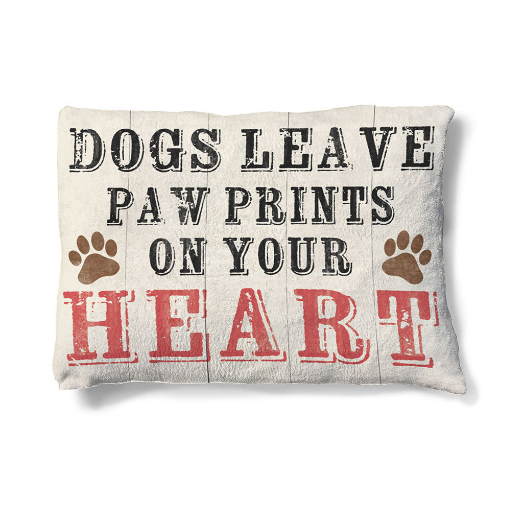 "Paw Prints on Your Heart 30"" x 40"" Fleece Dog Bed features a sentimental setting set on a neutral, off-white backdrop."