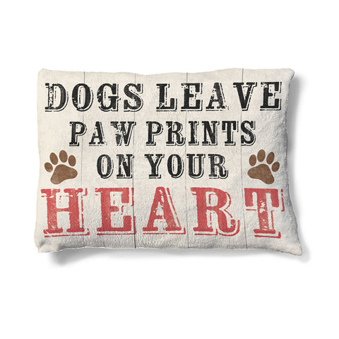 "Paw Prints on Your Heart 30"" x 40"" Fleece Dog Bed"