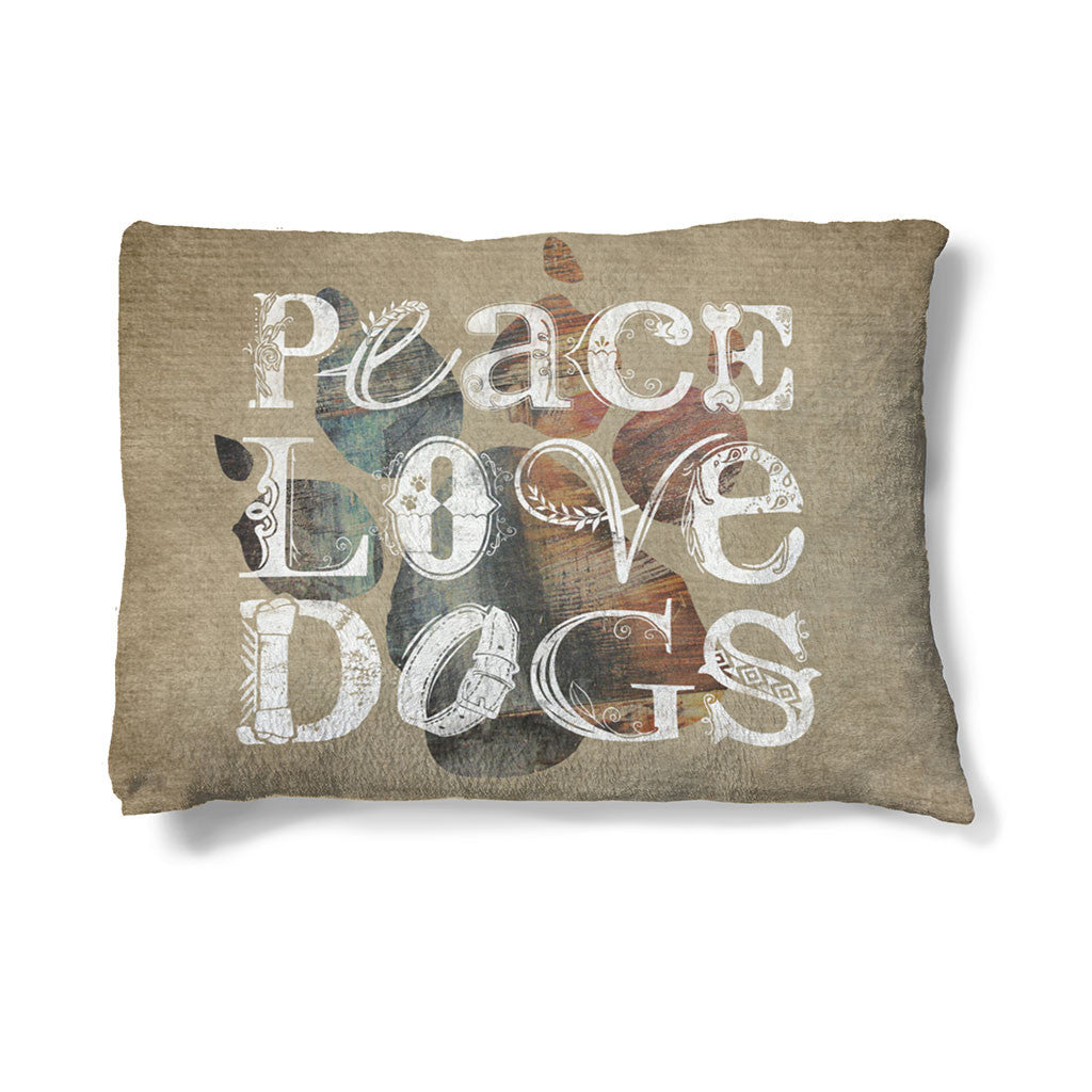 "Peace Love Dogs 30"" x 40"" Fleece Dog Bed boasts this mantra above a multi-colored paw print and burlap inspired backdrop."