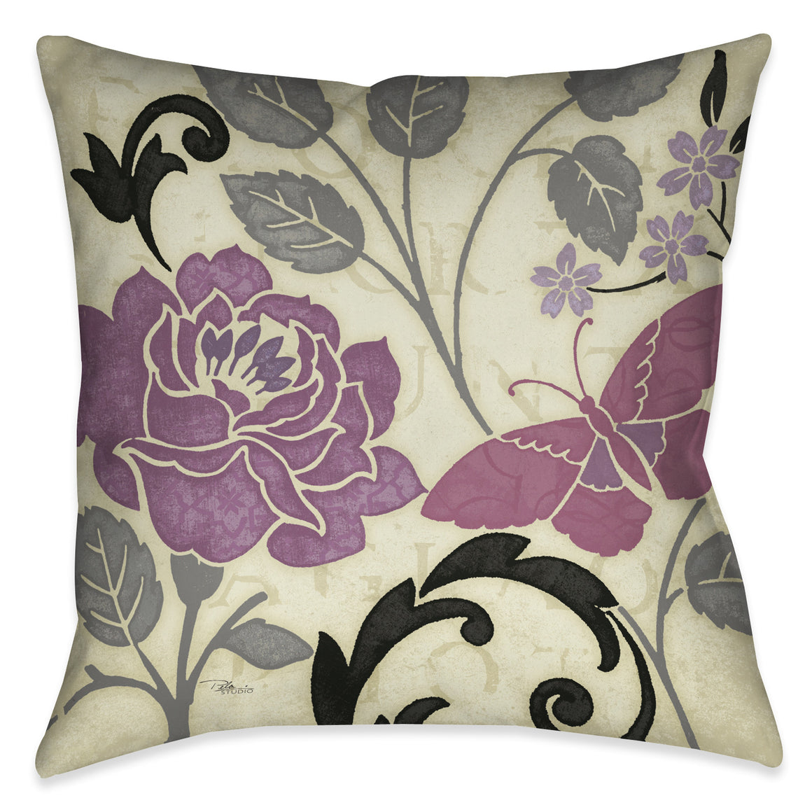 Perfect Petals I Lavender Indoor Decorative Pillow