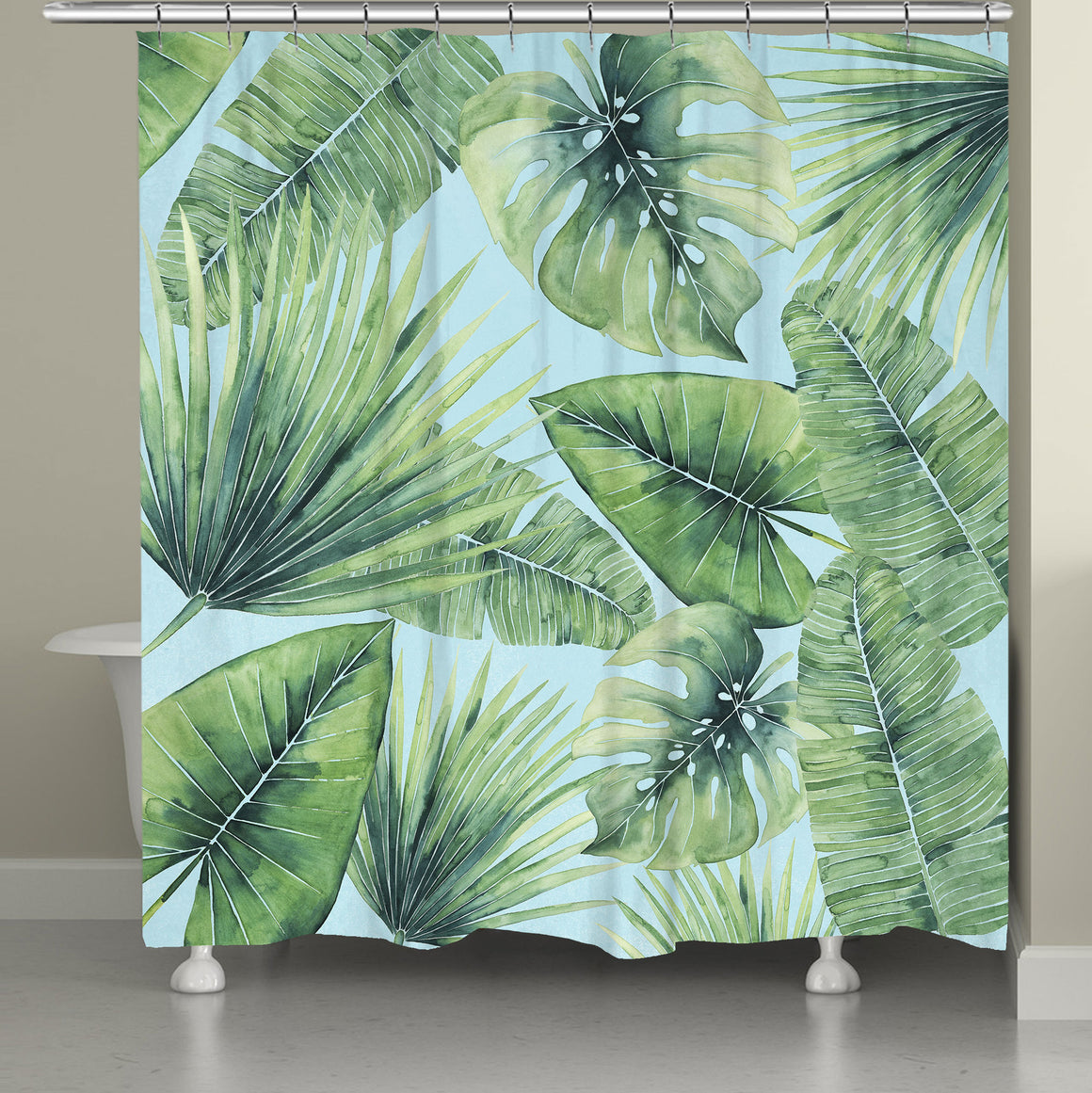 Tropical Palm Tree Leaves Shower Curtain
