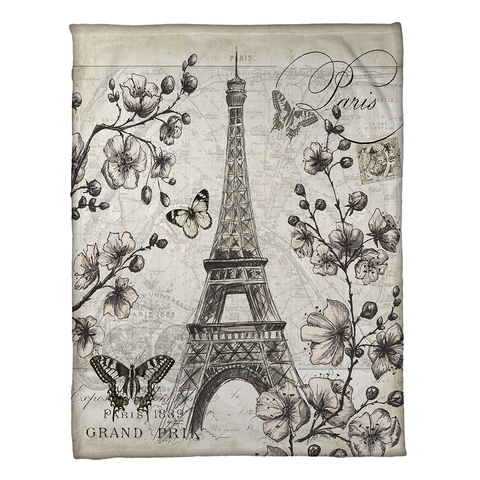 Paris in Bloom Fleece Throw