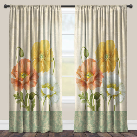 Pastel Poppies Sheer Window Panel