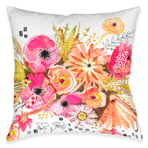 Peachy Blossoms Outdoor Decorative Pillow