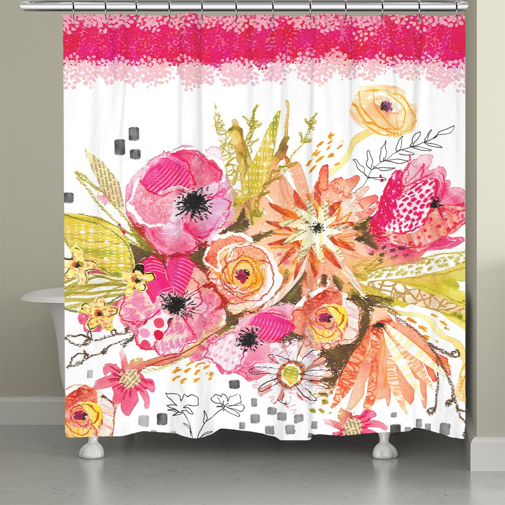 Peachy Blossoms Shower Curtain