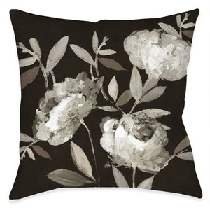 Peonies On Ebony Outdoor Decorative Pillow