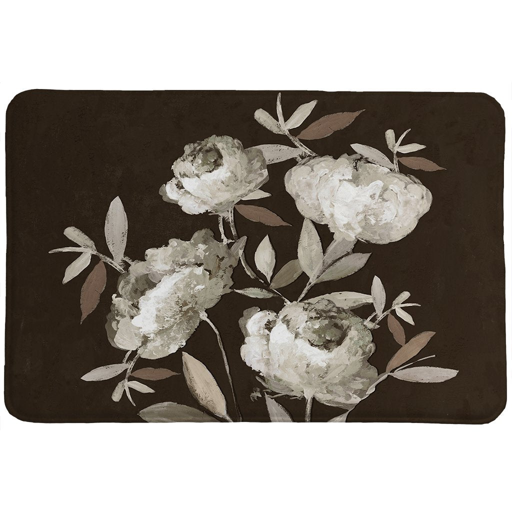 Peonies On Ebony Memory Foam Rug