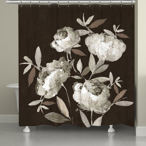 Peonies On Ebony Shower Curtain